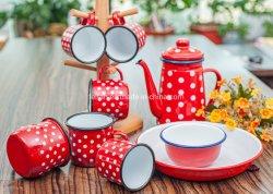 Esmalte espessadas Jantar/Conjunto de chá com Batata a ondulação da borda