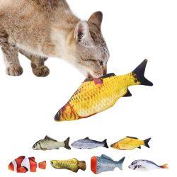 3D de felpa suave de PET de forma de pez gato pez regalos interactivo juguete Juguetes de Peluche de Hierba gatera almohada de pescado de simulación de muñeca de juguete para jugar Pet