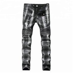 2019 Hot Fashion Design imprimé d'hommes Casual Biker insignes Brushed Pantalon jeans denim