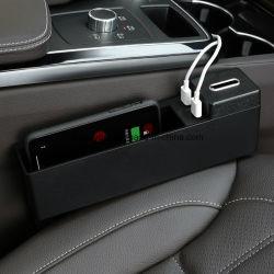 カーシートサイドポケット - コンソールサイドポケット、ユニバーサルカーポケットオーガナイザホルダ、携帯電話用 USB 充電ポート 2 個、キー、カード、ウォレット、コイン Esg10639