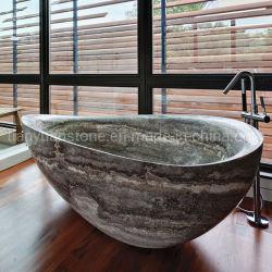 Piedra travertino bañera bañera independiente para la decoración de baño