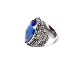 Het anti-Rhodium van de Ring van de Juwelen van de manier plateerde de Blauwe Steen van het Glas