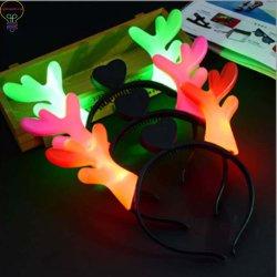 LED 순록 가지진 뿔 머리띠는 사슴 경적 머리 굴렁쇠를 불이 켜진다