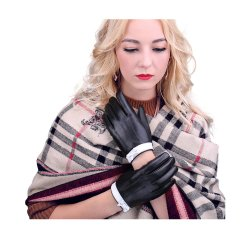 Senhoras luvas de couro Custom barato couros e peles de ovinos de condução automóvel quente de Inverno Fashion luvas do lado da mulher com forro