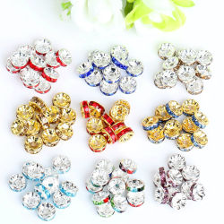 Goldの水晶Ab Rhinestone Rondelle Beads Spacers