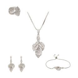 Trois feuilles de zircon bijoux collier pendentif Bracelet Set