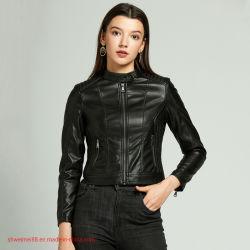 Casaco de Pele artificial das mulheres Moto casaco curto Casual Coat Casaco de couro para meninas Senhoras Petite Vestua Casacos Canadá