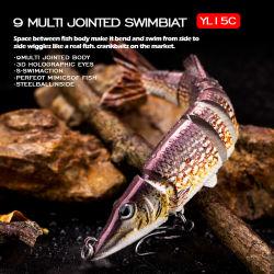 De kunstmatige Lokmiddelen van de Visserij van de Vissen van 12.5cm 20g Realistische 6 Gesegmenteerde Lokmiddel multi-Verbonden zwemmen hard Aas
