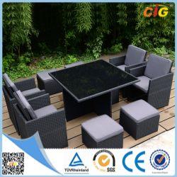 一定表及び椅子の柳細工の藤の屋外の余暇の庭の家具を食事する9 PCE