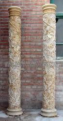 Custom Garden Home Casamento pilares de pedra decorativa arquitectónico Coluna de escultura em mármore com design de uvas de flores esculpidas (QCM056)