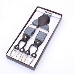 Tecido Jacquard braçadeiras elásticas nos orifícios do botão de couro Garment Suspensórios (RS-17019)