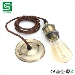 Lampada Pendant stabilita dell'indicatore luminoso di soffitto dell'annata E27 con il cavo del tessuto