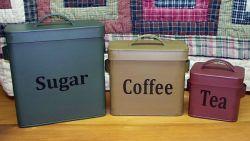 Le métal Biscuit Pain thé café Sucre Canisters Storage