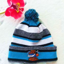 2020 Mulheres cores misturadas a esfera de lã inverno quente para manter quente 3D MALHA bordada Beanie Hat Cap