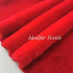 Tessuto lavabile della pelliccia del Faux del coniglio della pelliccia del poliestere molle rosso del coniglio