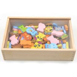 Блоки шаржа деревянного домина подарка рождества животные установленные для игрушки образования малышей