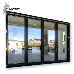 Mittlerer Wohnzauntritt-Aluminiumakkordeon-Aufzug-Falz-Türen für direktes Irland