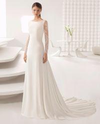 Bateau mousseline de soie dentelle de cou à manches longues robes de mariée robe de mariée