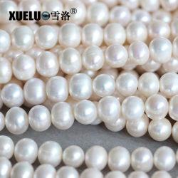 9-10mmの円形の培養された淡水の真珠は玉を付けるストリング物質的な卸売(E180013)に