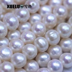 9-10mm 백색 둥근 일반적인 질 만들기를 위한 자연적인 경작된 민물 진주 물가 보석, Zhuji 진주 (XL180102)를