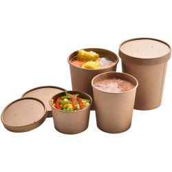 El papel personalizado de la copa de helado, blanco o kraft, el papel de la Copa de la sopa fría y caliente el recipiente con tapa plana ventilado, mayorista de alimentos Takeout Pack