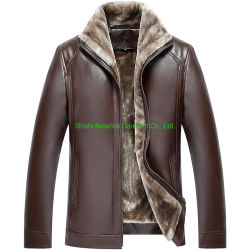 La mejor calidad de piel cálido Invierno Hombre Chaqueta forro de pieles de Conejo Collar Fur Coat PU