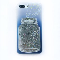 Bling Glitter Sparkle étoiles flottant souhaitant bouteille cas Téléphone