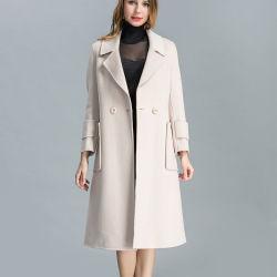 Crema pura hermosa cálida mezcla de lana largo abrigo mujer