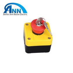 Pulsador de la cabeza de hongo rojo XB2-B184h29 de la etiqueta de parada de emergencia con llave de liberación de enclavamiento de la caja de control