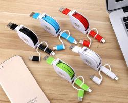 3 в 1 Micro B & Apple молнии контакт 8 и Тип C зарядка аккумуляторной батареи и кабеля передачи данных