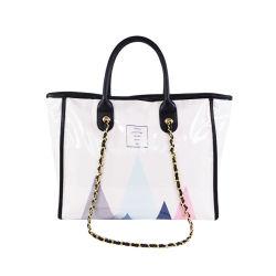 Großhandel Custom Logo klare transparente Kunststoff PVC Einkaufstasche Handtasche mit Nieten