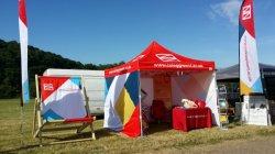 3X4.5m стали красочные открытый всплывающее полог палатки для торговых выставок в рамке