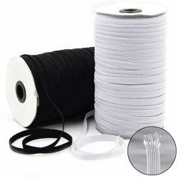 A fábrica de poliéster de alimentação de 3mm 6 mm 8 mm Corda de algodão preto branco trançado faixa elástica para Earloop plana de máscara
