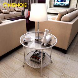 Onenoe спроектирован в современном металла с круглым концом кофейный столик с отделкой из закаленного стекла