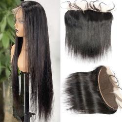 도매 중국 Wig Lace Closure Natural Remy 헤어 위브 번들 실크 스트레이트 전면 HD 끈 정면 저렴한 브라질 버진 인간 머리카락