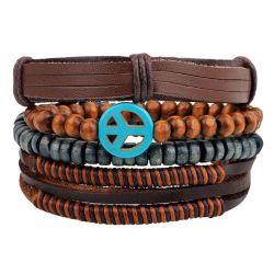 Combinação de mais de um bracelete de couro artesanais tecidos Bangle cordões de madeira