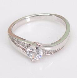 Mode bijoux bijoux en diamants classique de Pierre unique 3un anneau de zircon cubes 925 Sterling Silver