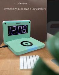 Novo Design de tendências promocionais Quarto Lazy digitais sem fio Relógio do Carregador