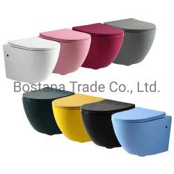 CE mur accroché à deux pièces de céramique salle de bain WC P-Trap pour adultes le sanitaire