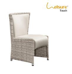 Piscina de lazer moderno design de mobiliário de couro de PVC Pátio de vime Cadeira de jantar