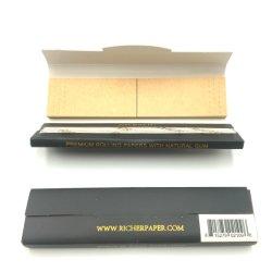 Unedles organisches braunes Blend-Hemp-Rollpapier mit Filterspitzen, Verschluss nach Tab