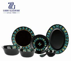 O Restaurante Casa Hotel Black Opal Conjunto de jantar de vidro 33PCS (HYS033001-T56)