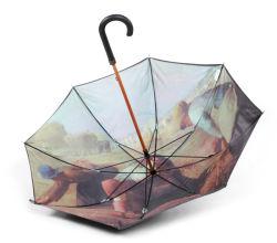 선푸 커스텀 디자인 더블 패브릭 아트 페인팅 프로모션 레인 우산