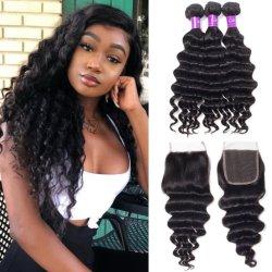 Kbeth ديب ويف Bundles للنساء السود 2021 أزياء جيدة نوعية 100 ٪ ريمي الشعر البشري المنقذ الشعر الهندي عذراء غراء Weft الحزم مع الإغلاق
