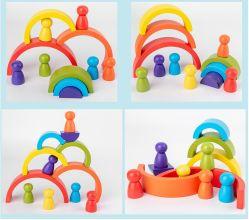 최신 판매 아이들 교육 탑 장난감 DIY Funning는 Eco-Friendly 너도밤나무 나무를 가진 게임 장난감을 겹쳐 쌓이는 나무로 되는 무지개 인형을 막는다