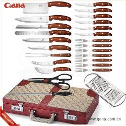 Juego de cuchillas Best-Selling Ultra Qana cuchillo de carne 25PC Juego de cuchillos de chef con Caja de cuero