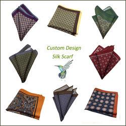 Los hombres pañuelo de bolsillo 100% seda Bufanda Bufanda impreso personalizado