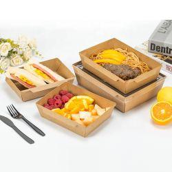 PET 뚜껑 직사각형 일회용 식품 용기 샐러드 크라프트 종이 뚜껑이 있는 상자