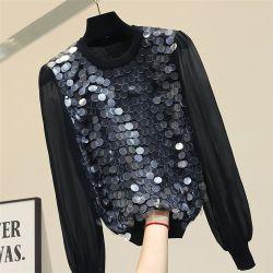Modieus Overhemd voor Dames met de Lange Sleeved Blouse van de Chiffon Sequined