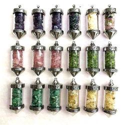 半貴水晶要素エネルギーSmalの自然な石造りのガラスペンダントを着色しなさい